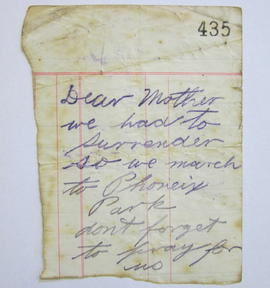 Note from rebel participant in the Easter Rising