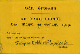 Admission ticket to the first meeting of Dáil Éireann
