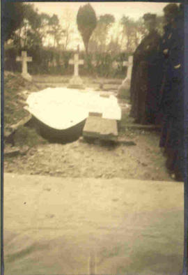 1937 Exhumation: coffin after removal from grave