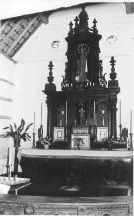 Altar at birthplace; statue of B.V.M. formerly in parish church